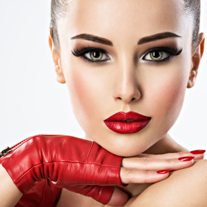 Sensual woman with bright fashion make-up.